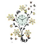Đồng hồ trang trí họa tiết hoa lá nổi bật không gian sống hiện đại 858