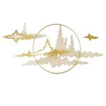 Decor sắt trang trí 3D mây núi vàng ấn tượng 1040
