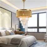 Đèn chùm pha lê phong cách Châu Âu sang trọng đầy ấn tượng 8532 màu vàng size 50*55cm