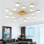 Đèn trần phòng khách phong cách Bắc Âu ấn tượng MH047 16 bóng khung vàng