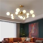 Đèn trần phòng khách phong cách Bắc Âu ấn tượng 8737 13 bóng khung vàng