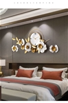 Đồng hồ treo tường trang trí decor 3D hoa nghệ thuật mã 2106 màu trắng