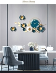 Đồng hồ treo tường trang trí decor 3D hoa nghệ thuật mã 2106 màu xanh