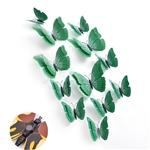 Set bướm decor 3D sắc màu bộ 12 con sống động BC01 màu xanh lá cây