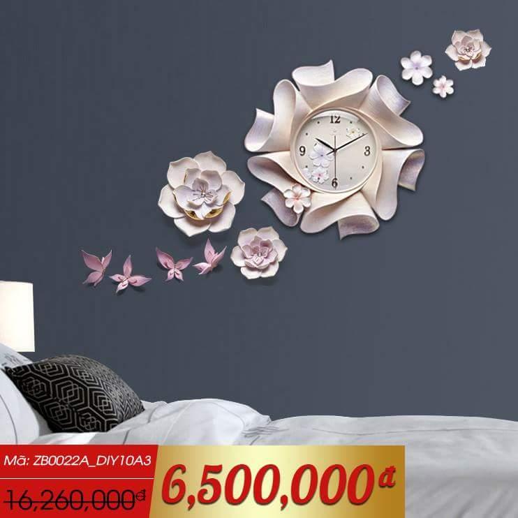 Đồng hồ thiết kế hình hoa nghệ thuật cho không gian thêm ấn tượng ZB0022A_DIY10A3