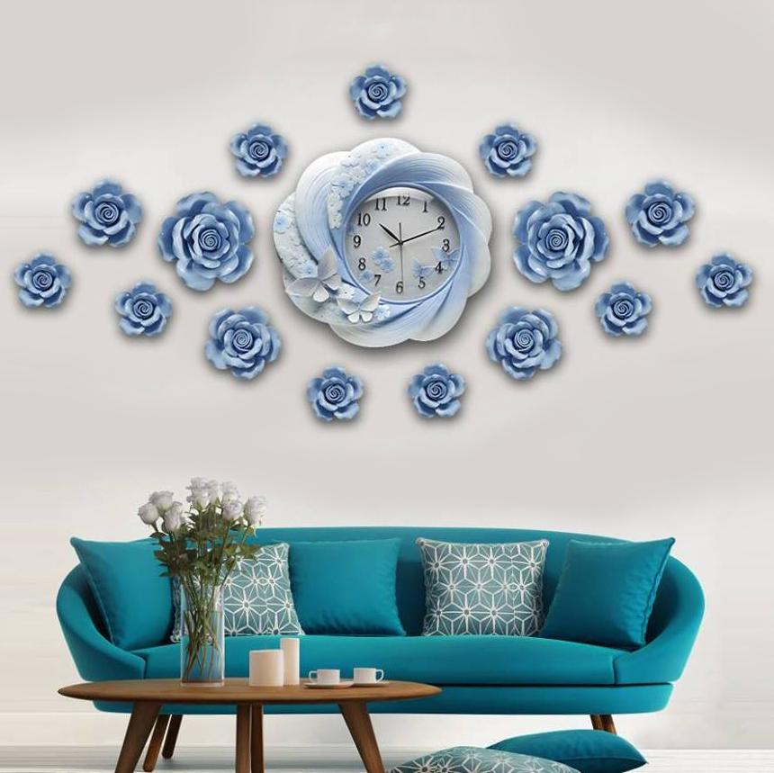 Đồng hồ thiết kế hoa nghệ thuật cho không gian thêm ấn tượng ZB0027B_HA
