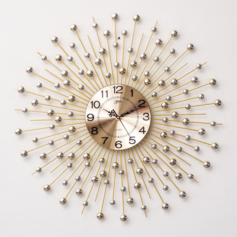 Đồng hồ treo tường pha lê mặt trời vàng vô cùng ấn tượng C6008-2