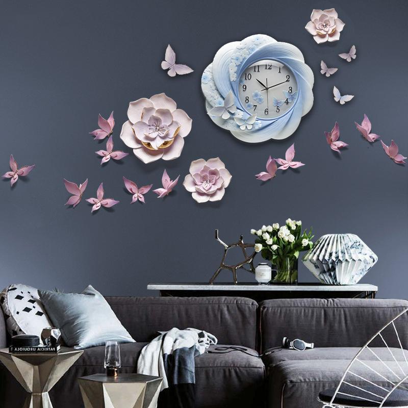 Đồng hồ kiểu dáng Châu Âu kết hợp hoa trang trí 3D cho không gian thêm sống động đầy ấn tượng DIY10A3A_HA2