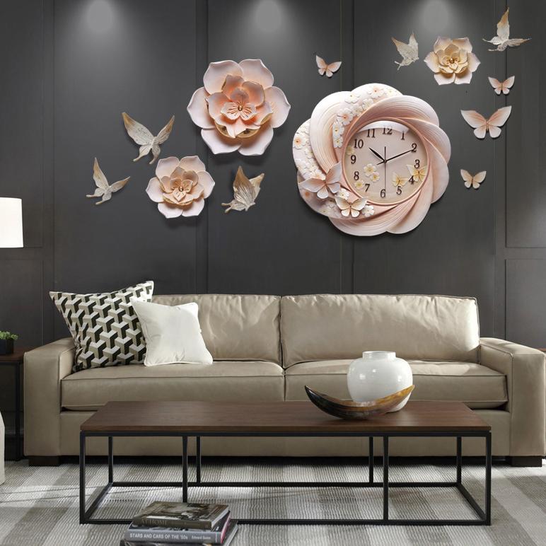 Đồng hồ kiểu dáng Châu Âu kết hợp hoa trang trí 3D cho không gian thêm sống động đầy ấn tượng DIY10A3A_HA1