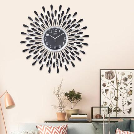 Đồng hồ treo tường hình chiếc lá và giọt sương pha lê vô cùng ấn tượng cho ngôi nhà hiện đại BS60001MK-70BL