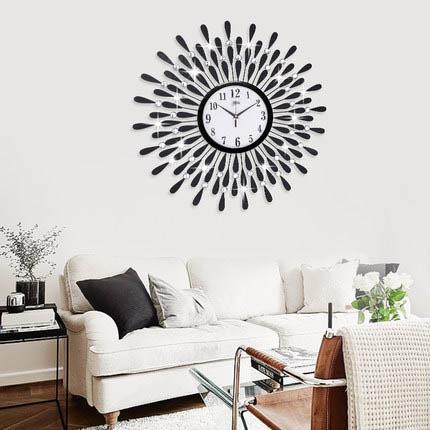 Đồng hồ treo tường hình chiếc lá và giọt sương pha lê vô cùng ấn tượng cho ngôi nhà hiện đại BS60001MK-70WH