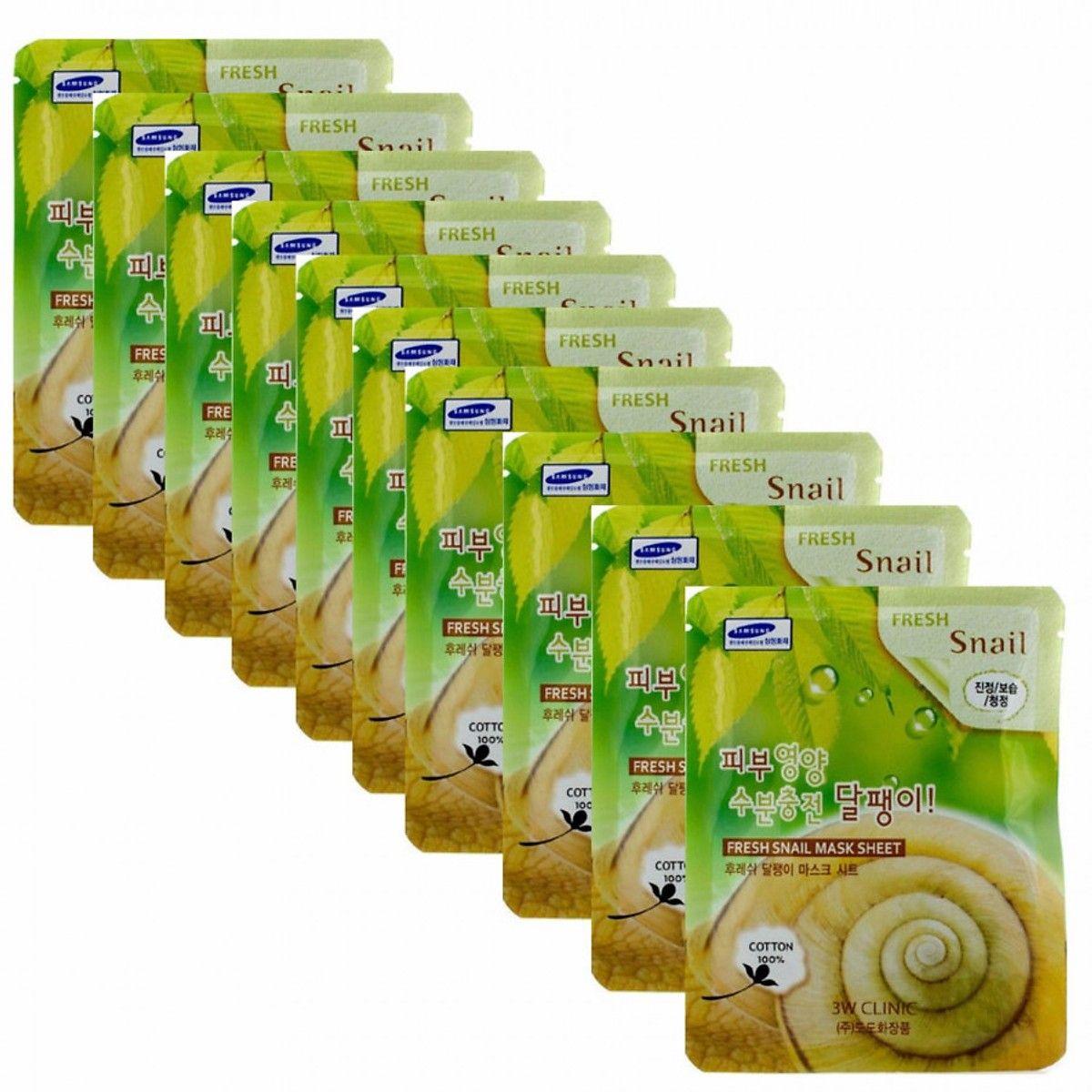 Combo 10 gói mặt nạ chiết xuất ốc sên 3W Clinic Fresh Snail Mask Sheet (23ml x 10)