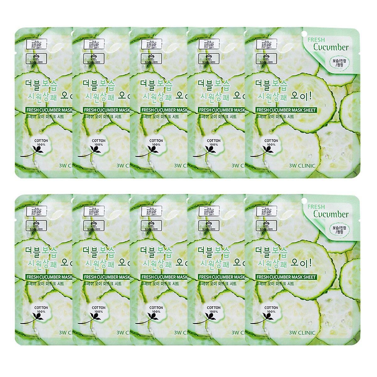 Combo 10 Gói Mặt Nạ Dưỡng Ẩm Da 3W Clinic Fresh Cucumber Jelly Mask Sheet Chiết Xuất Dưa Leo (23ml x 10)