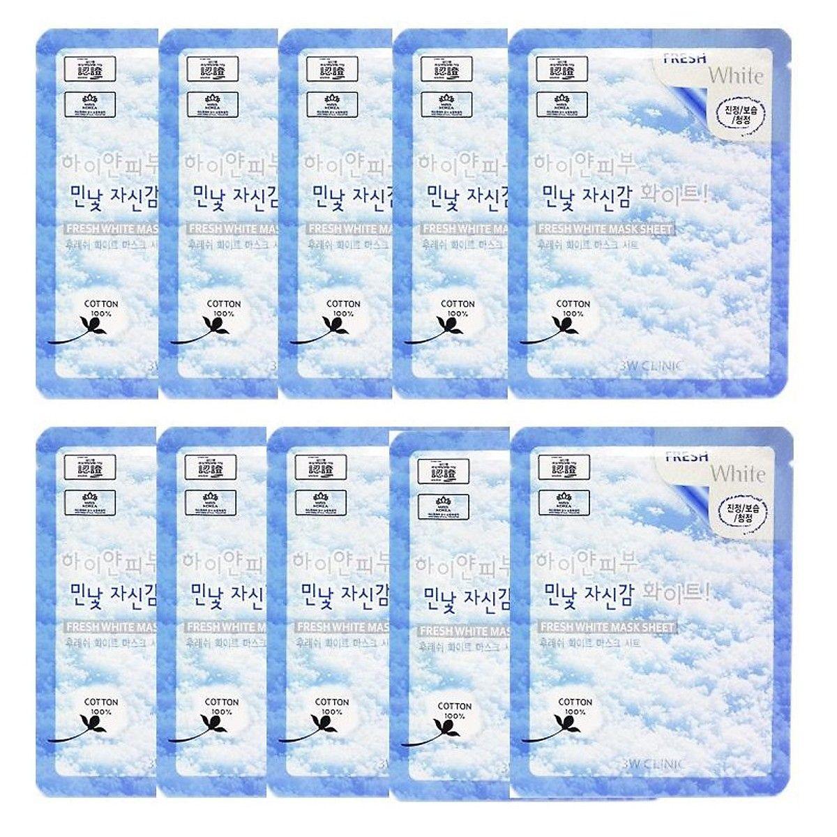 Combo 10 Gói Mặt Nạ Tuyết Dưỡng Trắng Da 3W Clinic Fresh White Mask Sheet (23ml X 10)
