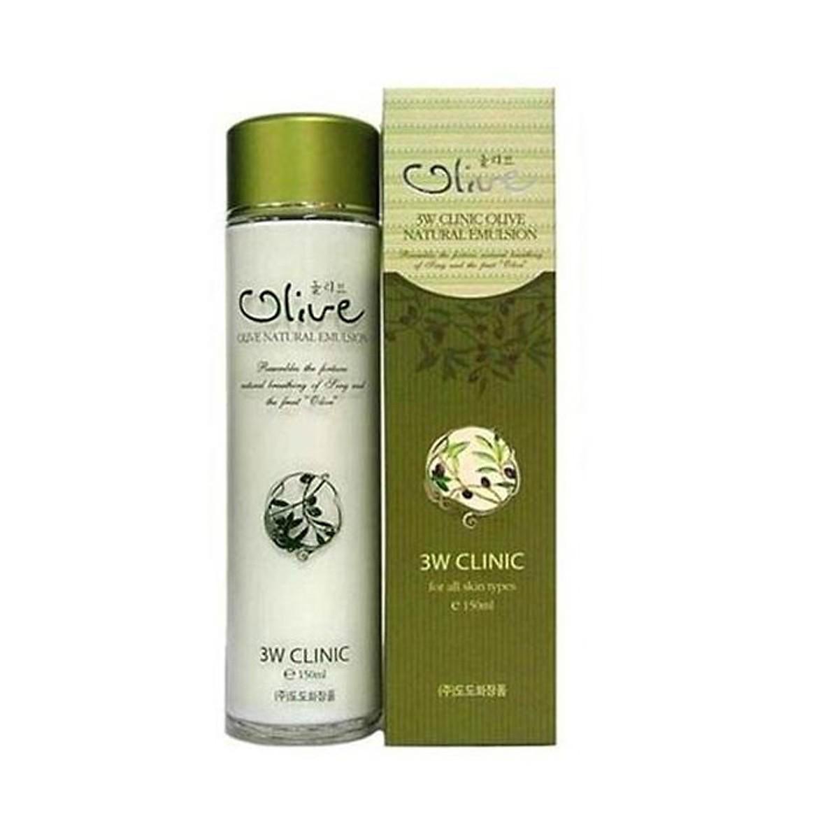 Sữa dưỡng trắng da tinh chất dầu Olive 3W CLINIC Hàn Quốc 150ml
