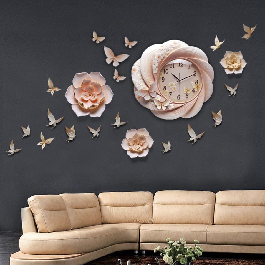 Đồng hồ thiết kế hoa nghệ thuật cho không gian thêm ấn tượng ZB0027B_2L5001_DIY10A3