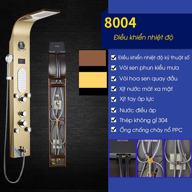 Vòi sen tắm điều khiển nhiệt độ vòi phun đa chức năng vô cùng tiện nghi cho phòng tắm hiện đại 8004