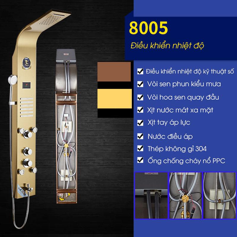 Vòi sen tắm điều khiển nhiệt độ vòi phun đa chức năng vô cùng tiện nghi cho phòng tắm hiện đại 8005