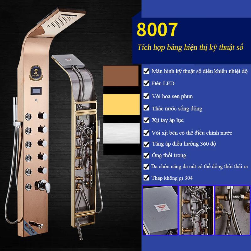 Vòi sen tắm tích hợp đèn hiển thị điều khiển kỹ thuật số vô cùng tiện nghi cho phòng tắm hiện đại 8007