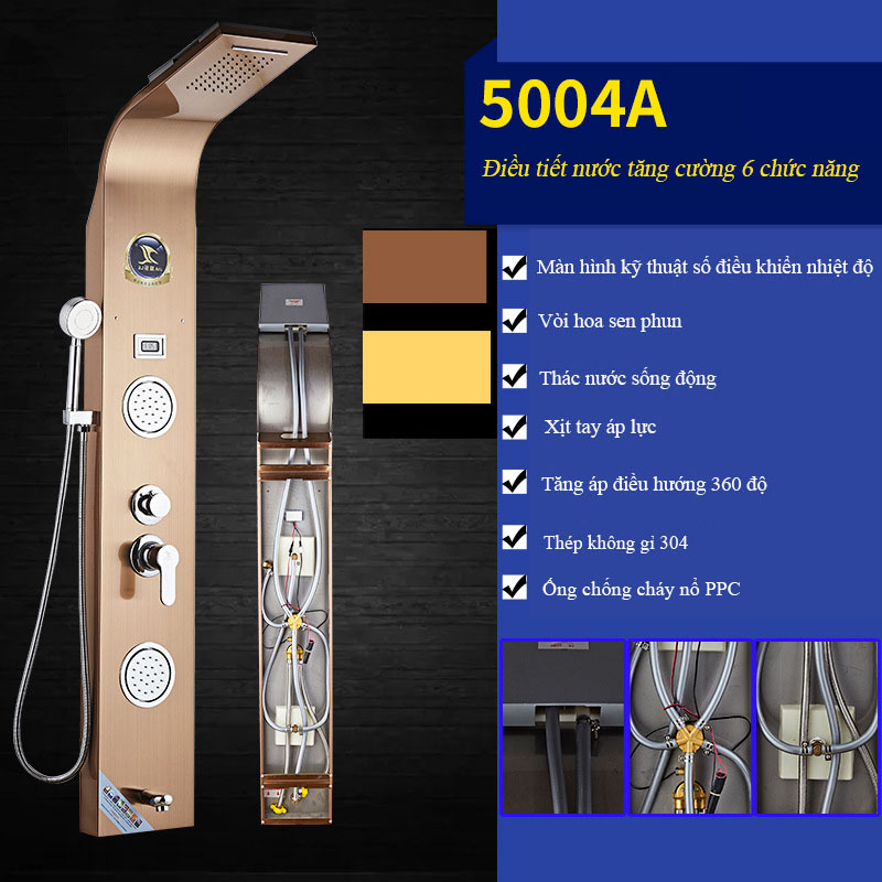 Vòi sen tắm hiển thị điều khiển kỹ thuật số vô cùng tiện nghi cho phòng tắm hiện đại 5004A