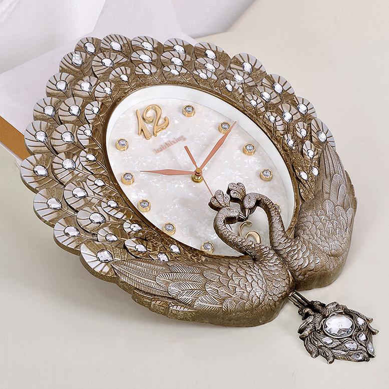 Đồng hồ trang trí khổng tước may mắn đậm chất hoàng gia Châu Âu 6569