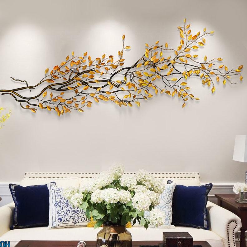 Cành cây lá vàng 3D thiết kế ấn tượng cho không gian thêm sang trọng 003 khổ 1,5m