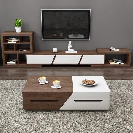 Bộ bàn cafe thông minh kết hợp tủ Tivi và tủ phụ hiện đại cho ngôi nhà kiểu mới