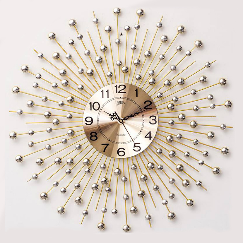 Đồng hồ treo tường pha lê mặt trời vàng vô cùng ấn tượng BS6008_90YL