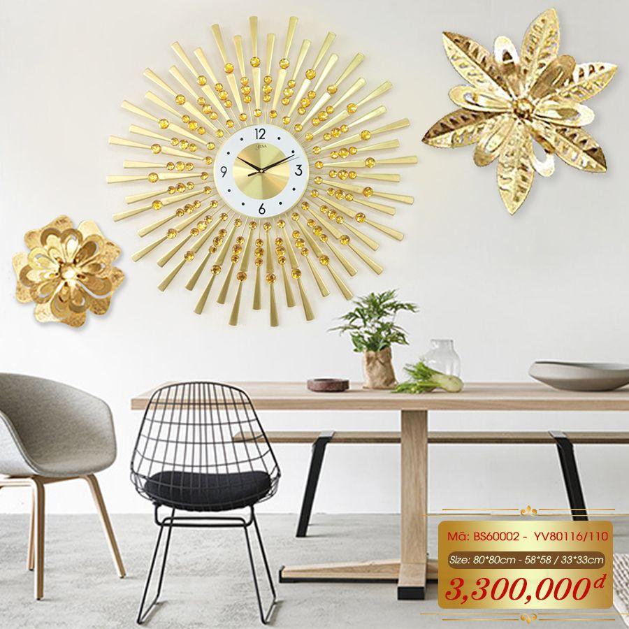 Set đồng hồ và decor trang trí 3D  tuyệt đẹp cho không gian thêm sống động đầy ấn tượng BS60002 -  YV80116/110