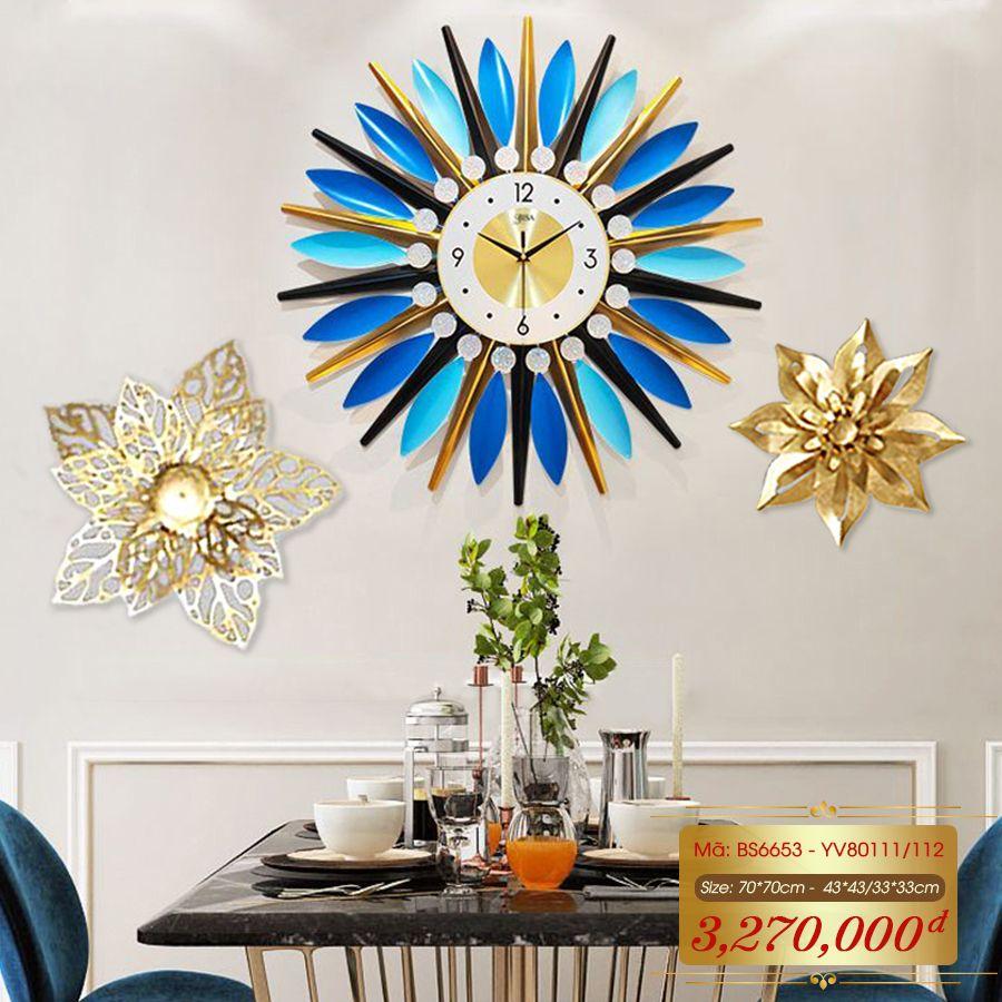 Set đồng hồ và decor trang trí 3D  tuyệt đẹp cho không gian thêm sống động đầy ấn tượng BS6653 - YV80111/112