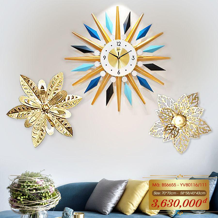 Set đồng hồ và decor trang trí 3D  tuyệt đẹp cho không gian thêm sống động đầy ấn tượng BS6655 - YV80116/111