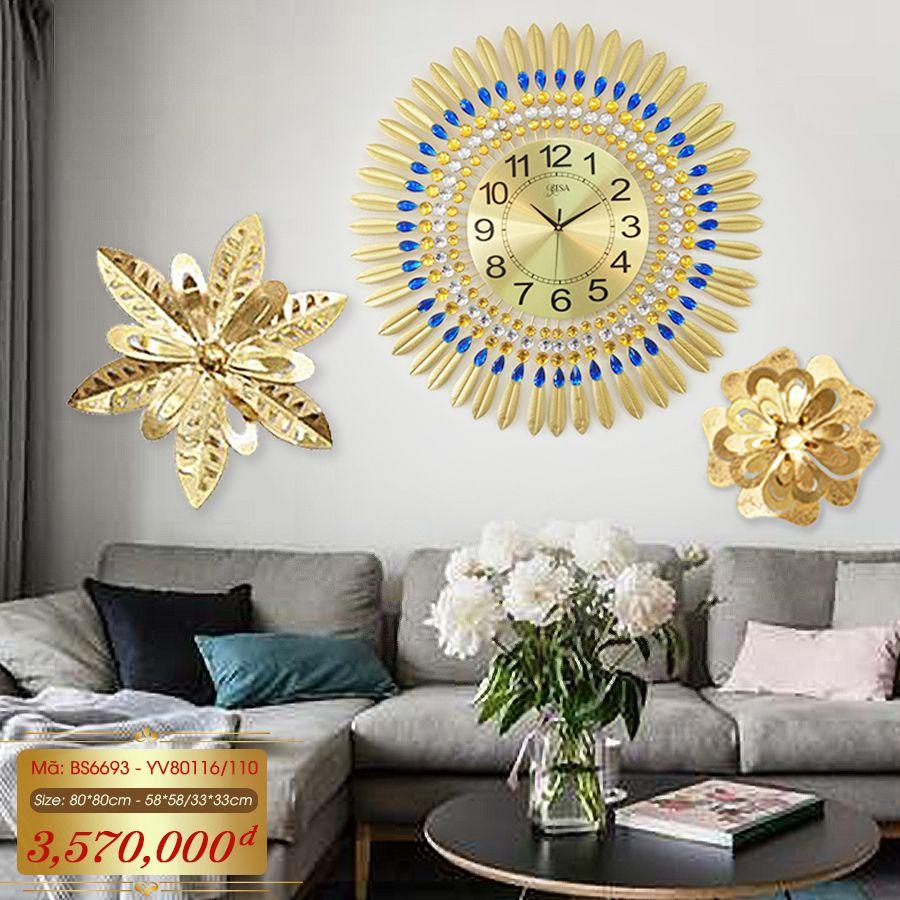 Set đồng hồ và decor trang trí 3D  tuyệt đẹp cho không gian thêm sống động đầy ấn tượng BS6693 - YV80116/110