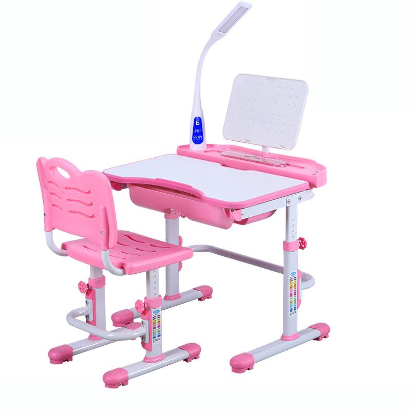 Bàn học trẻ em thiết kế khoa học giúp tập trung việc học tốt hơn KPLC7 mẫu tích hợp đèn LED bảo vệ mắt màu hồng