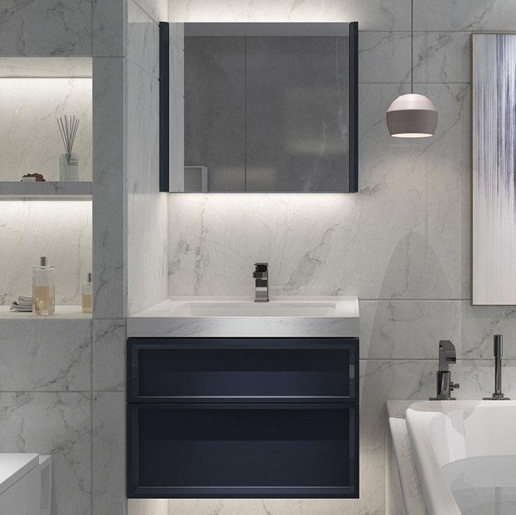 Bộ tủ gương và tủ lavabol chất lượng cao cho không gian hiện đại đẳng cấp YF1116 size 80cm