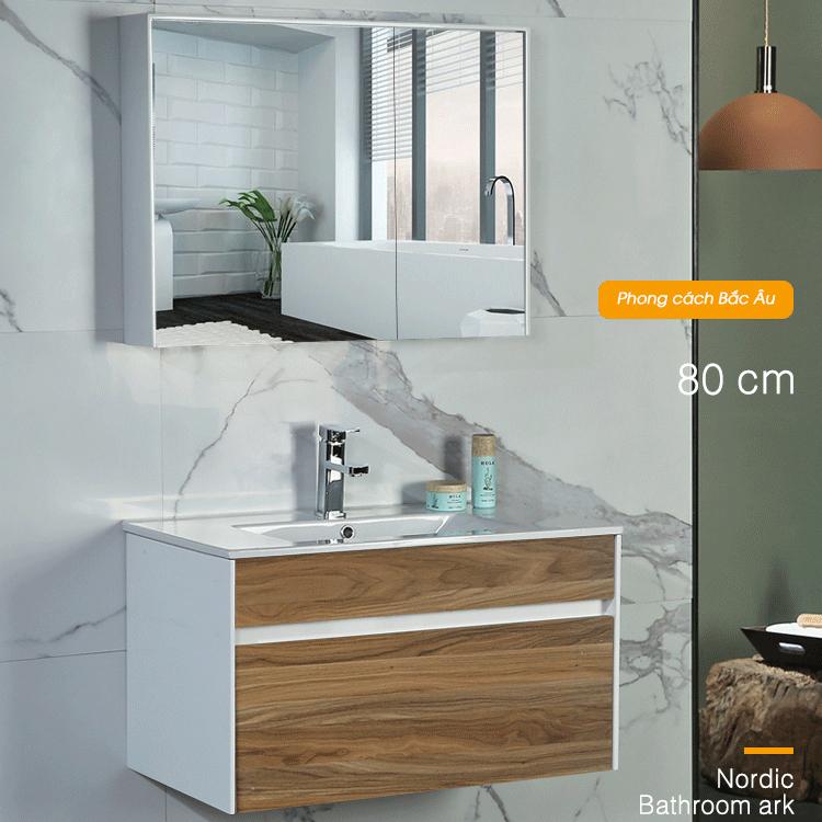 Bộ tủ gương và tủ lavabol phong cách Bắc Âu cho không gian hiện đại đẳng cấp YF1115 size 80cm màu gỗ nâu sáng