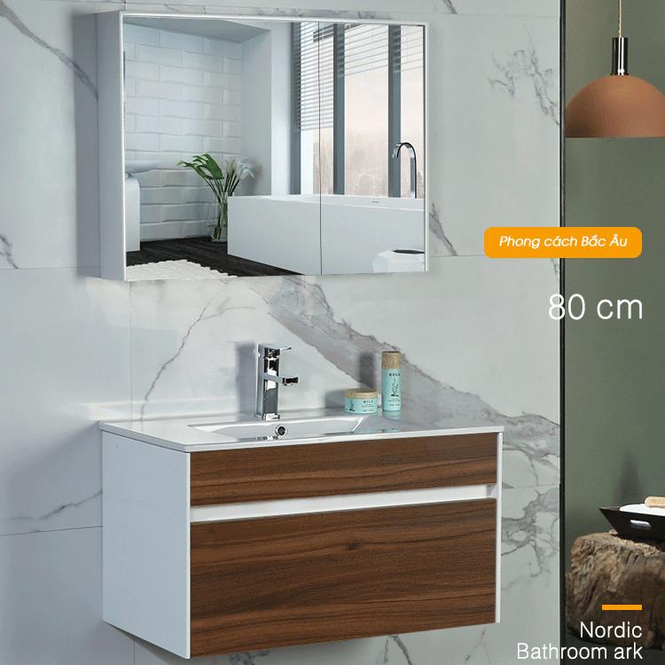 Bộ tủ gương và tủ lavabol phong cách Bắc Âu cho không gian hiện đại đẳng cấp YF1115 size 80cm màu gỗ nâu đậm