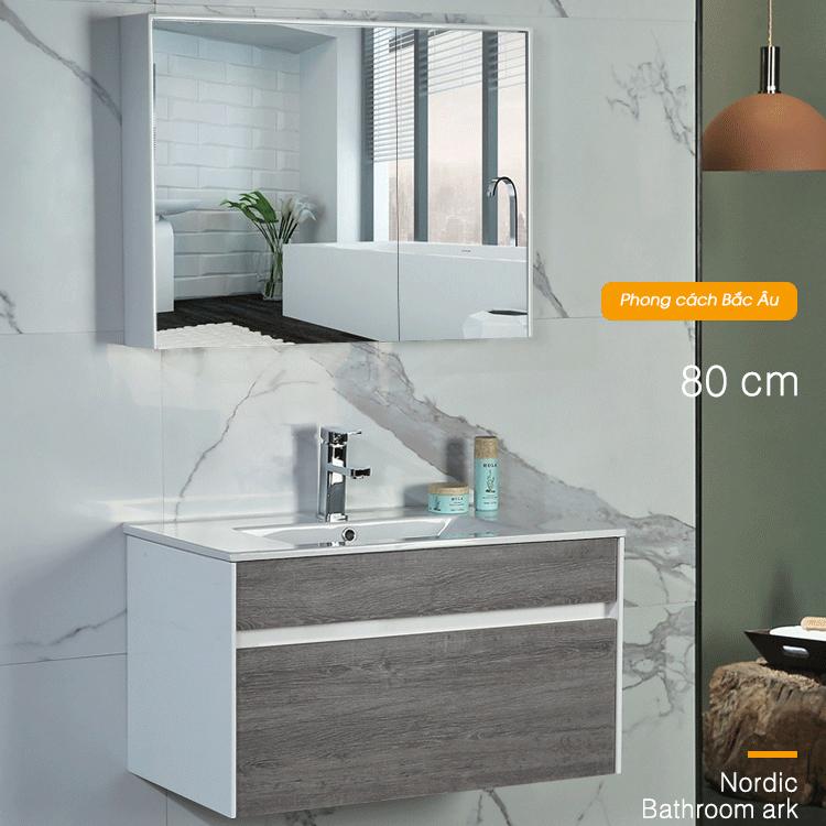 Bộ tủ gương và tủ lavabol phong cách Bắc Âu cho không gian hiện đại đẳng cấp YF1115 size 80cm màu xám