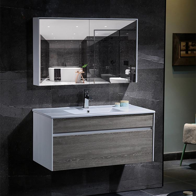 Bộ tủ gương và tủ lavabol phong cách Bắc Âu cho không gian hiện đại đẳng cấp YF1115 size 100cm màu xám