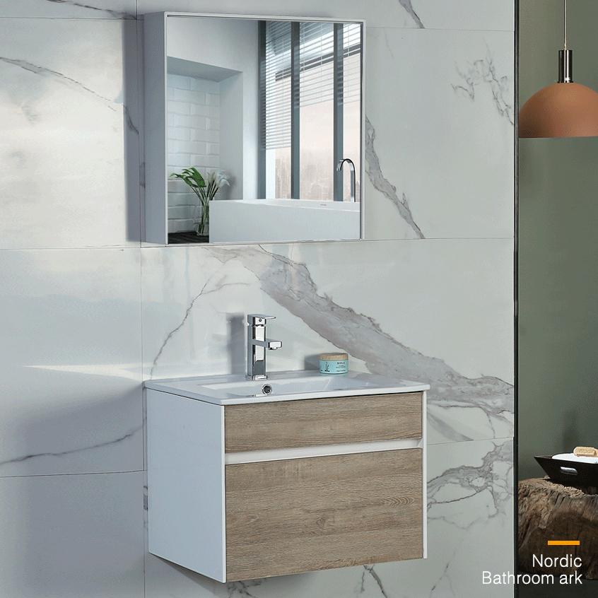 Bộ tủ gương và tủ lavabol phong cách Bắc Âu cho không gian hiện đại đẳng cấp YF1115 size 70cm màu sáng