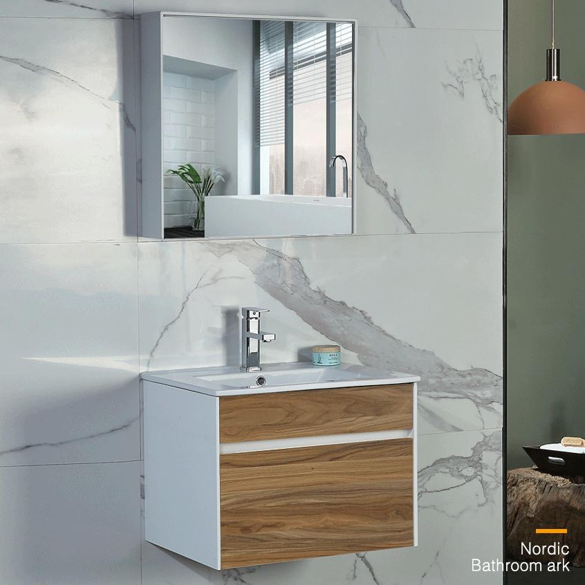 Bộ tủ gương và tủ lavabol phong cách Bắc Âu cho không gian hiện đại đẳng cấp YF1115 size 70cm màu gỗ nâu sáng
