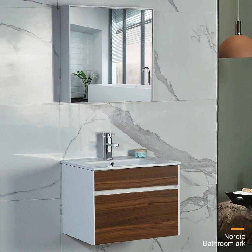Bộ tủ gương và tủ lavabol phong cách Bắc Âu cho không gian hiện đại đẳng cấp YF1115 size 70cm màu gỗ nâu đậm