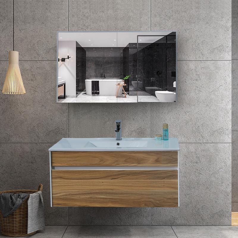 Bộ tủ gương và tủ lavabol phong cách Bắc Âu cho không gian hiện đại đẳng cấp YF1115 size 100cm màu gỗ nâu sáng