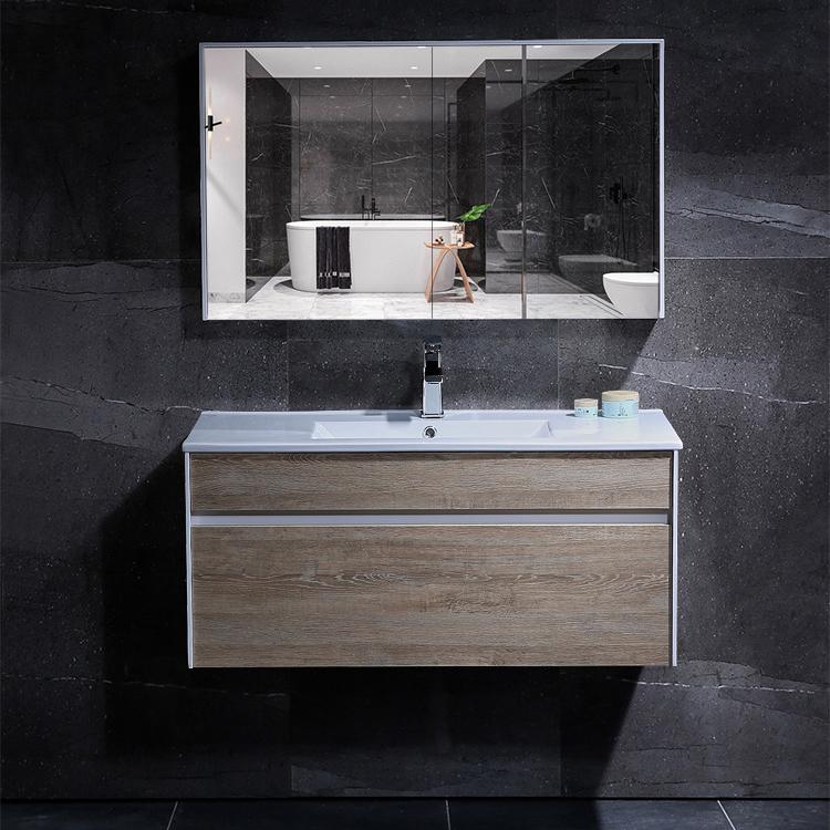Bộ tủ gương và tủ lavabol phong cách Bắc Âu cho không gian hiện đại đẳng cấp YF1115 size 100cm màu sáng