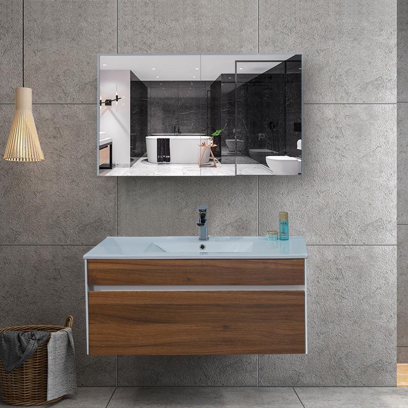 Bộ tủ gương và tủ lavabol phong cách Bắc Âu cho không gian hiện đại đẳng cấp YF1115 size 100cm màu gỗ nâu đậm