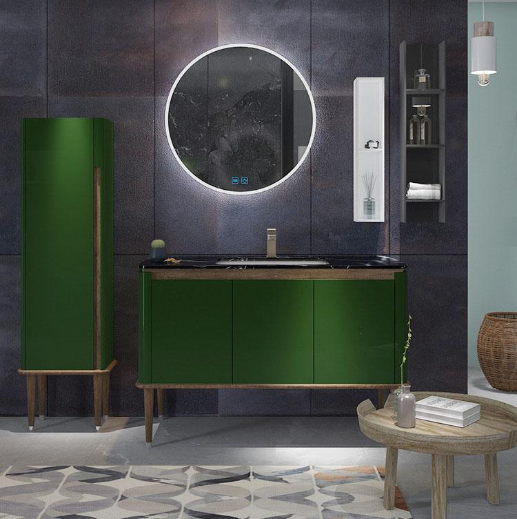 Bộ tủ gương và tủ lavabol phong cách Bắc Âu cho không gian hiện đại đẳng cấp YF1117 size 120cm màu xanh lá cây