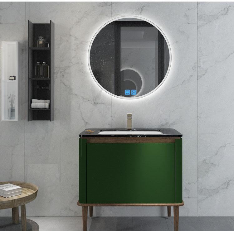 Bộ tủ gương và tủ lavabol phong cách Bắc Âu cho không gian hiện đại đẳng cấp YF1117 size 70cm  màu xanh lá cây