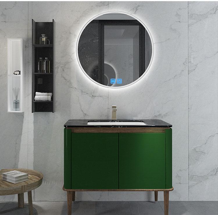 Bộ tủ gương và tủ lavabol phong cách Bắc Âu cho không gian hiện đại đẳng cấp YF1117 size 100cm màu xanh lá cây