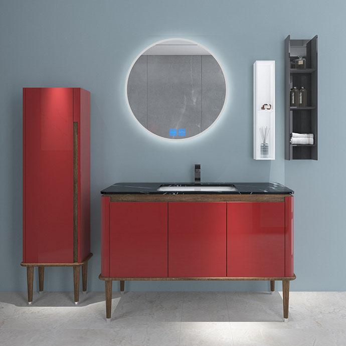 Bộ tủ gương và tủ lavabol phong cách Bắc Âu cho không gian hiện đại đẳng cấp YF1117 size 110cm màu đỏ