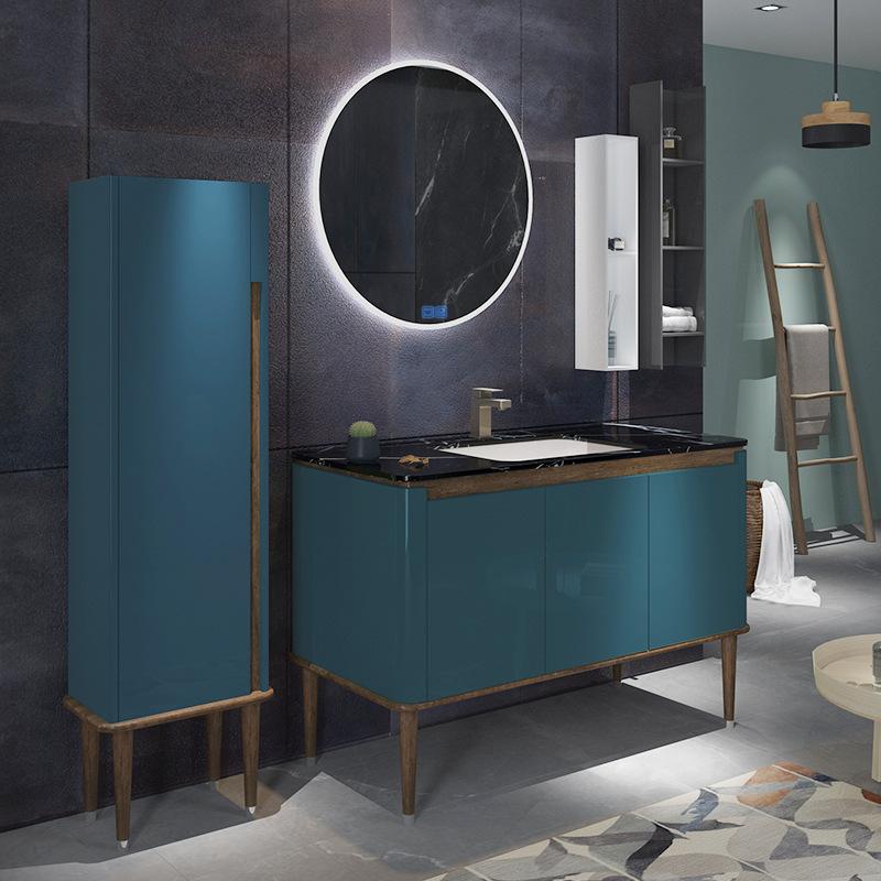 Bộ tủ gương và tủ lavabol phong cách Bắc Âu cho không gian hiện đại đẳng cấp YF1117 size 120cm màu xanh