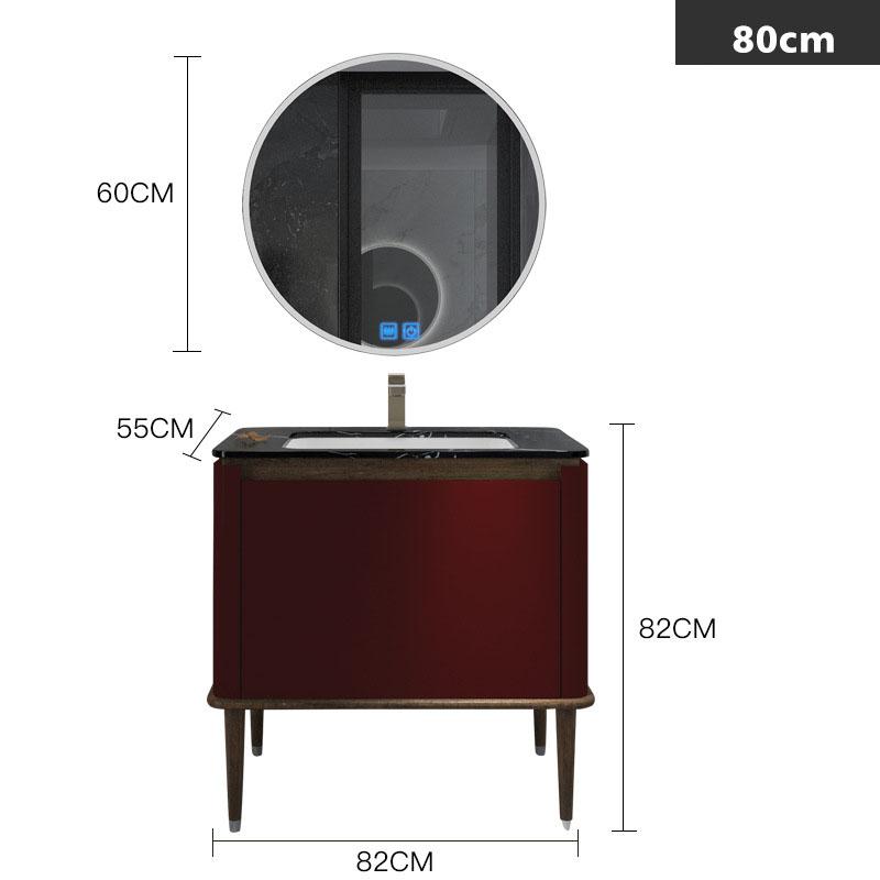 Bộ tủ gương và tủ lavabol phong cách Bắc Âu cho không gian hiện đại đẳng cấp YF1117 size 80cm  màu đỏ